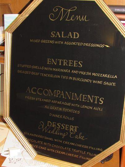 Wedding Menu in Gold Calligraphy on Glass