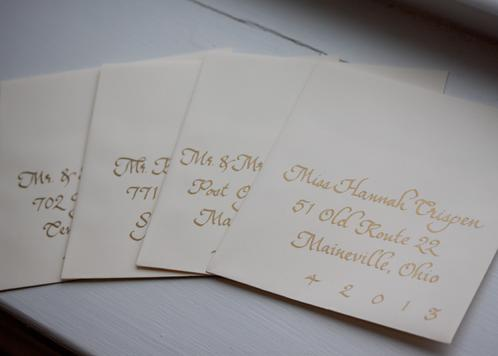 Wedding Envelopes in Gold Benjamin Script Calligraphy