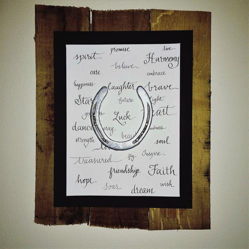 Custom Calligraphy Mounted on Pallet Wood with Horseshoe