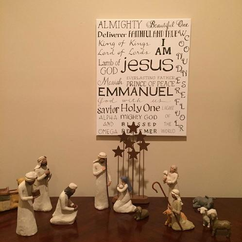 Calligraphy of Jesus' Many Names Looks Great by Nativity Scene
