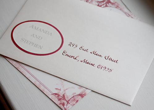 Old Fashioned Script in Red with Labels for Guests' Names