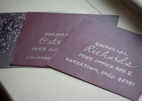 Silver Calligraphy on Stardream Envelopes