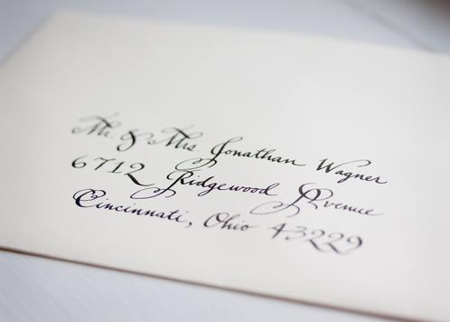 Wedding Envelope in Bickham Script Calligraphy