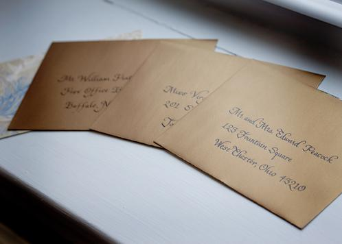 Wedding Envelopes in Benjamin Script Chocolate Brown Calligraphy