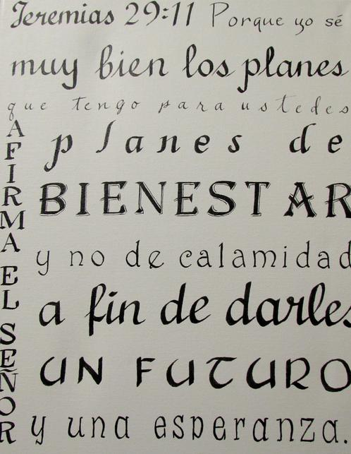 Calligraphy Artwork of Bible Verse in Spanish